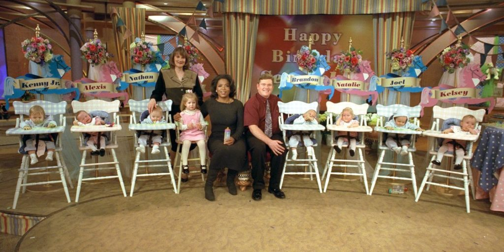 The McCaughey septuplets on the set with Oprah. The show, celebrating the babies' first birthday, will aire on Thursday Nov. 19, 1998. (Photo supplied by the show)