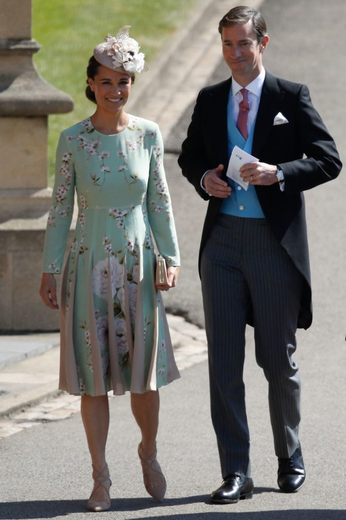 "7f41ef020cf9e ... maternity dress to this weekend's royal wedding, instead arriving in a  mint green and pink floral ""Hepburn"" silk dress by The Fold, featuring a  drop ..."